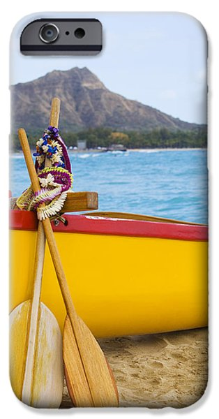 Recently Sold -  - Overhang iPhone Cases - Waikiki Canoe Paddles iPhone Case by Dana Edmunds - Printscapes