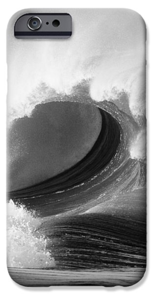 Best Sellers -  - Turbulent Skies iPhone Cases - Waimea Bay Wave - BW iPhone Case by Vince Cavataio - Printscapes