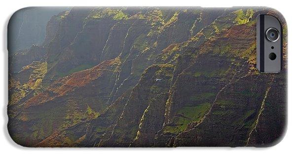 Rainy Day iPhone Cases - Waimea Canyon on a Misty Day in Kauai iPhone Case by Louise Heusinkveld