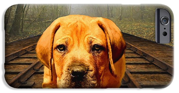 Puppies Digital Art iPhone Cases - Waiting By the Tracks iPhone Case by EricaMaxine  Price