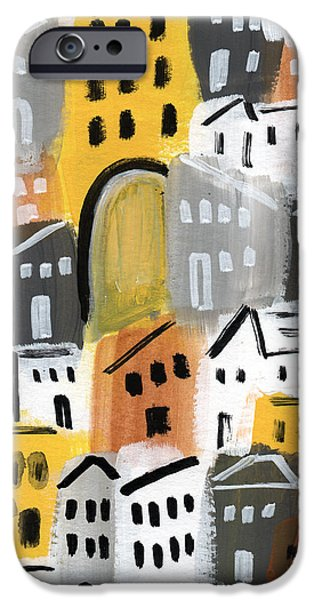 Town iPhone Cases - Waiting For Autumn- expressionist art iPhone Case by Linda Woods