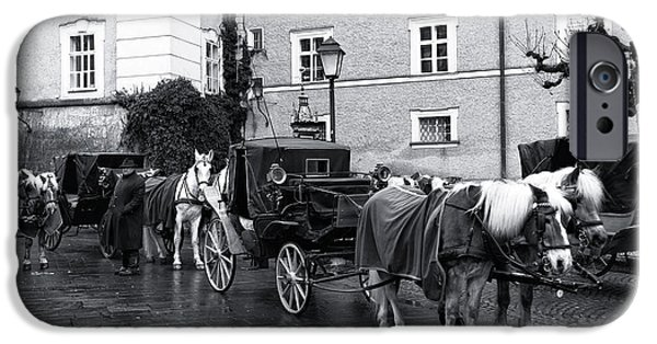 Horse And Buggy iPhone Cases - Waiting for Riders in Salzburg iPhone Case by John Rizzuto