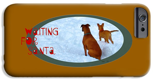 Puppies Digital iPhone Cases - Waiting For Santa Transparent iPhone Case by Wendy Rickwalt