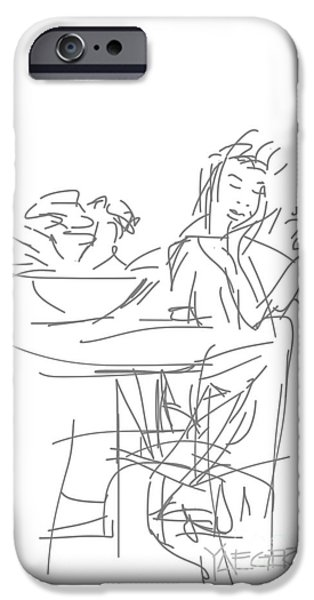 Abstract Digital Drawings iPhone Cases - Waiting for Someone iPhone Case by Robert Yaeger
