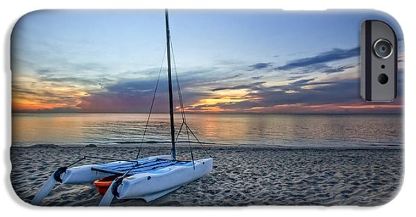 Sailboat Ocean iPhone Cases - Waiting for Sunrise iPhone Case by Debra and Dave Vanderlaan