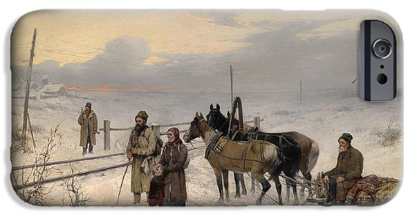 The Horse iPhone Cases - Waiting For The Train iPhone Case by Franz Roubaud Warten