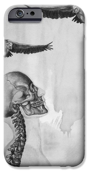 Mix Medium Drawings iPhone Cases - Waiting iPhone Case by Phil Spaulding