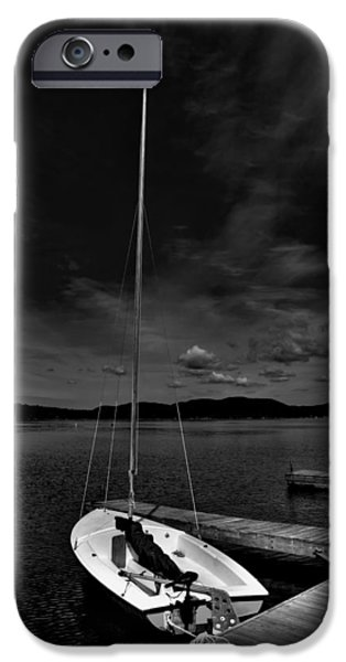 Boats At The Dock iPhone Cases - Waiting to Sail on Fourth Lake iPhone Case by David Patterson