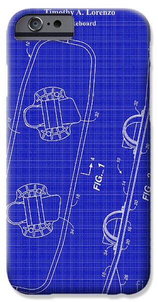 Skiing iPhone Cases - Wakeboard Patent Blueprint Drawing iPhone Case by Jon Neidert