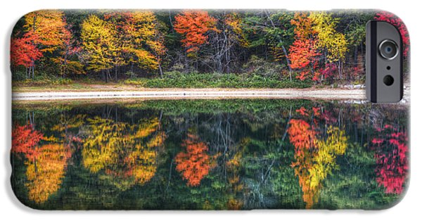 Concord Massachusetts iPhone Cases - Walden Pond Fall Foliage Concord MA Reflection iPhone Case by Toby McGuire