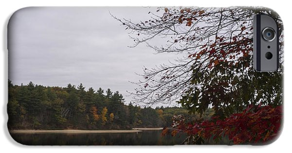 Concord Massachusetts iPhone Cases - Walden Pond Fall Foliage Le 2aves Concord MA iPhone Case by Toby McGuire