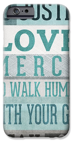 Bible Mixed Media iPhone Cases - Walk Humbly- Micah  iPhone Case by Linda Woods
