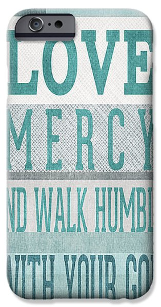 Bible Mixed Media iPhone Cases - Walk Humbly- Tall version iPhone Case by Linda Woods