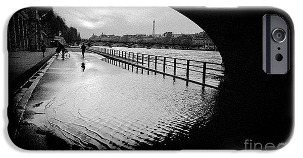 Monotone Pyrography iPhone Cases - Walk in Quais de Seine Paris  iPhone Case by Cyril Jayant