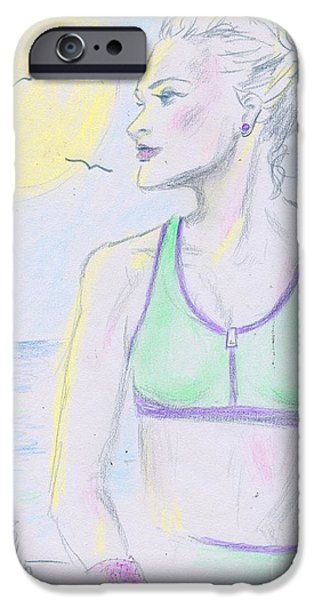 Fashion Drawings iPhone Cases - Walk In The Sun iPhone Case by P J Lewis