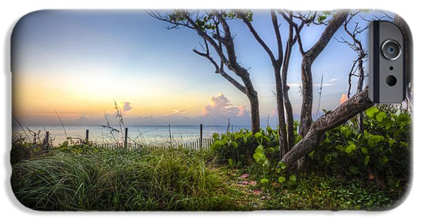 Beach Landscape iPhone Cases - Walk Into the Morning iPhone Case by Debra and Dave Vanderlaan
