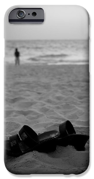 Shoes iPhone Cases - Walk on the Beach iPhone Case by Sebastian Musial