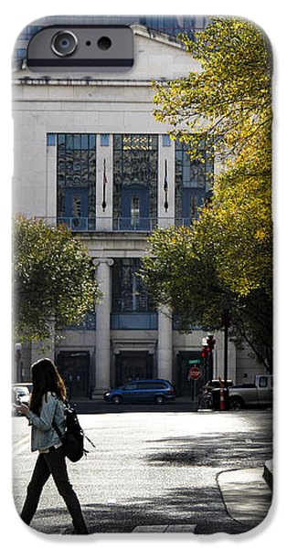 Urban Nature Study iPhone Cases - Walking Downtown iPhone Case by Marina McLain