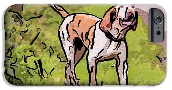 Dog In Landscape Digital iPhone Cases - Walking in the Country iPhone Case by Omaste Witkowski