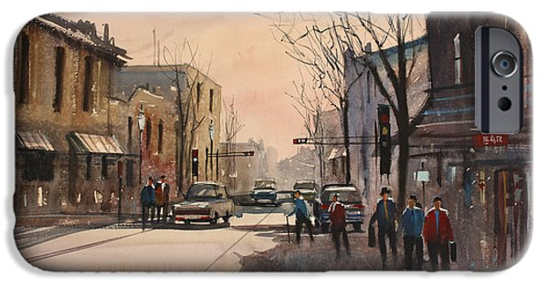 Wisconsin Paintings iPhone Cases - Walking in the Shadows - Fond du Lac iPhone Case by Ryan Radke