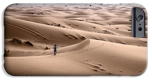 Sand Dune iPhone Cases - Walking the desert iPhone Case by Yuri Santin