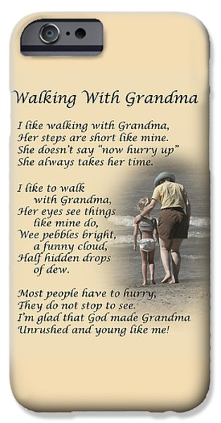 Walking iPhone Cases - Walking With Grandma iPhone Case by Dale Kincaid