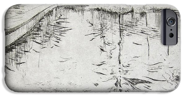 Contemporary Art Drawings iPhone Cases - Walkway   Kew Gardens iPhone Case by Calum McClure