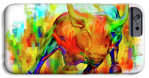 Stellar Paintings iPhone Cases - Wall Street Bull iPhone Case by Jack Zulli