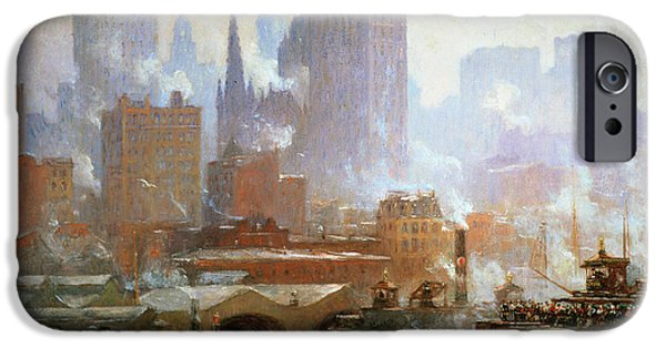 Fog Mist iPhone Cases - Wall Street Ferry Ship iPhone Case by Colin Campbell Cooper