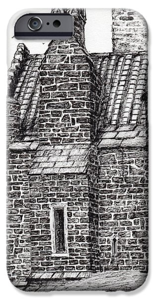 Pen And Ink iPhone Cases - Wallace monument  the small house iPhone Case by Vincent Alexander Booth
