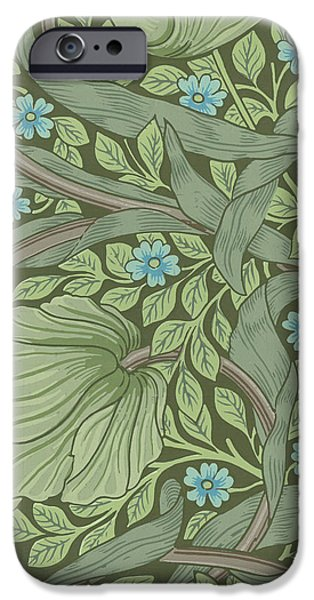 Samples iPhone Cases - Wallpaper Sample with Forget-Me-Nots iPhone Case by William Morris