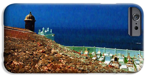 Soldiers National Cemetery Digital iPhone Cases - Walls of San Felipe del Morro Fortress San Juan iPhone Case by Izzy Pabon