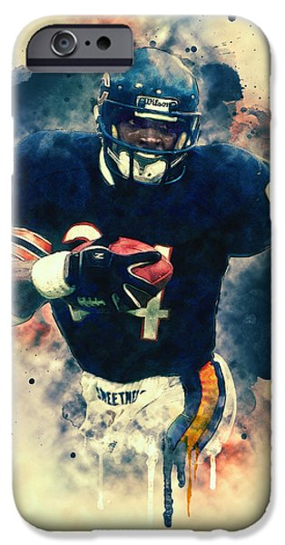 Soldier Field Paintings iPhone Cases - Walter Payton iPhone Case by Taylan Soyturk
