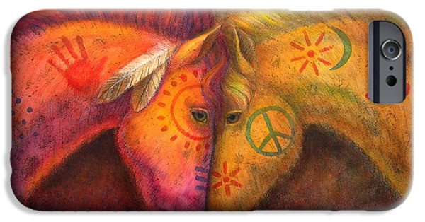 Painted Paintings iPhone Cases - War Horse and Peace Horse iPhone Case by Sue Halstenberg