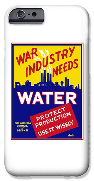Industry iPhone Cases - War Industry Needs Water - WPA iPhone Case by War Is Hell Store