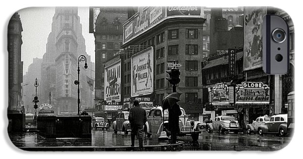 Rainy Day iPhone Cases - War Times Square N Y 1943 iPhone Case by Daniel Hagerman