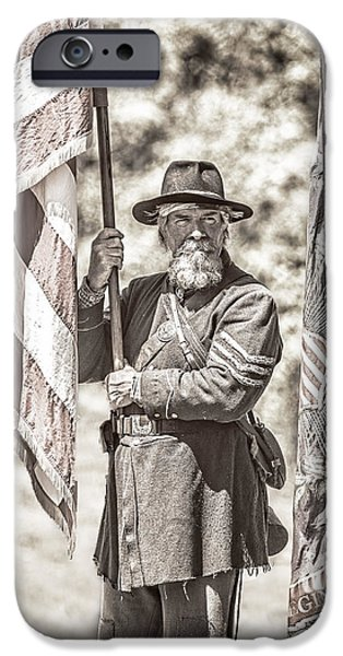 Weapon iPhone Cases - War Torn Flag Bearer D3451 iPhone Case by Wes and Dotty Weber