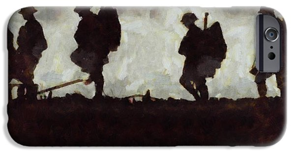 Wwi Paintings iPhone Cases - War Walk iPhone Case by Esoterica Art Agency