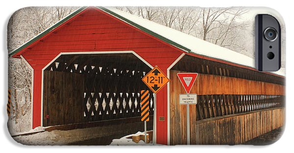 Covered Bridge iPhone Cases - Ware Gilbertville Covered Bridge Winter iPhone Case by John Burk