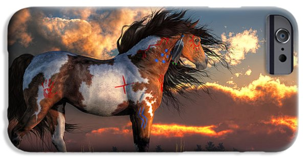 Nation iPhone Cases - Warhorse iPhone Case by Daniel Eskridge