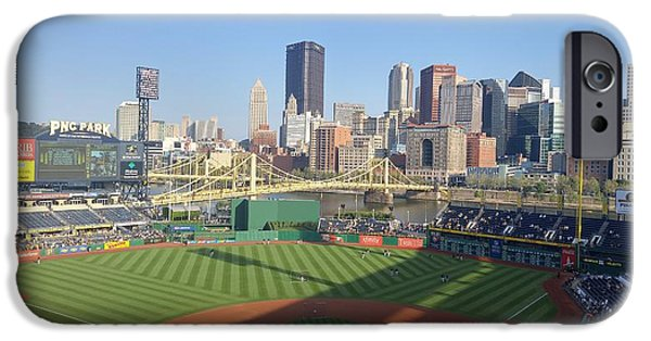 Baseball Stadiums iPhone Cases - Warm Up at PNC Park  iPhone Case by Shelley Smith