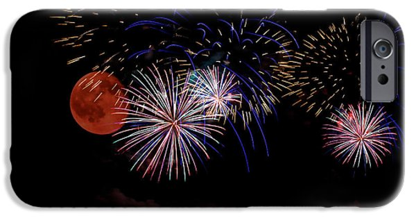 Fireworks iPhone Cases - Warning in the midst of celebration iPhone Case by Debbie Nobile