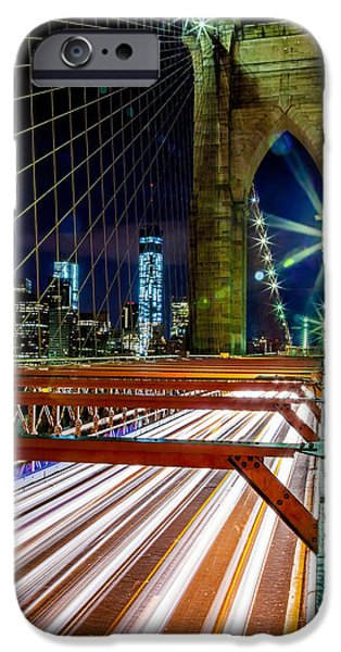 Financial District iPhone Cases - Warp Speed Out Of Manhattan iPhone Case by Az Jackson