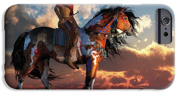 Remington Digital iPhone Cases - Warrior and War Horse iPhone Case by Daniel Eskridge