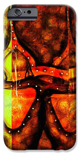 Abstract Digital Mixed Media iPhone Cases - Warrior iPhone Case by Aurora Art