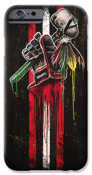 Hockey Art iPhone Cases - Warrior Glove on Black iPhone Case by Michael Figueroa