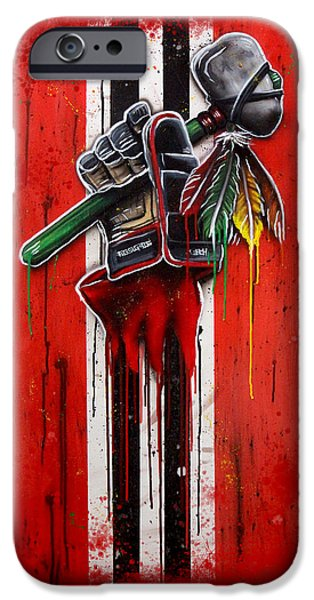 Hockey Paintings iPhone Cases - Warrior Glove on Red iPhone Case by Michael T Figueroa