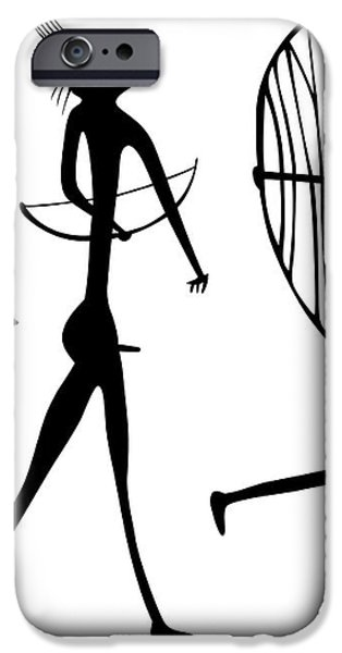 warriors - primitive art iPhone Case by Michal Boubin
