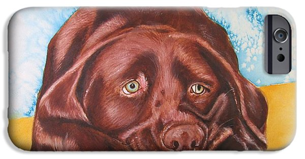 Chocolate Lab iPhone Cases - Was That Thunder? iPhone Case by Carol Blackhurst