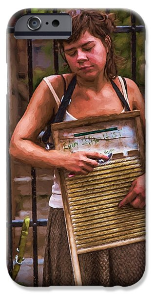 Young iPhone Cases - Washboard Woman on the Street iPhone Case by John Haldane